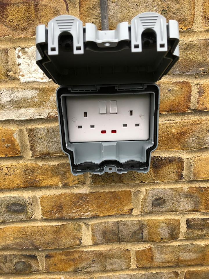 after - New Outdoor IP Rated Socket Supply and Fit